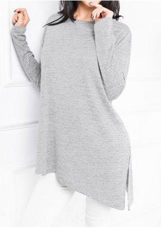 Solid Slit Asymmetric Long Sleeve Blouse