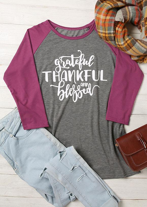Grateful Thankful And Blessed Baseball T Shirt Fairyseason