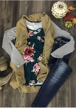 Floral Striped Splicing Criss-Cross Blouse