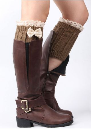 Lace Splicing Bowknot Knitted Boot Cuffs