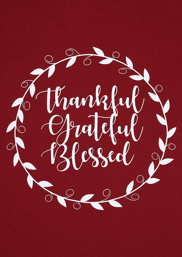 Thankful Grateful Blessed V Neck T Shirt Fairyseason