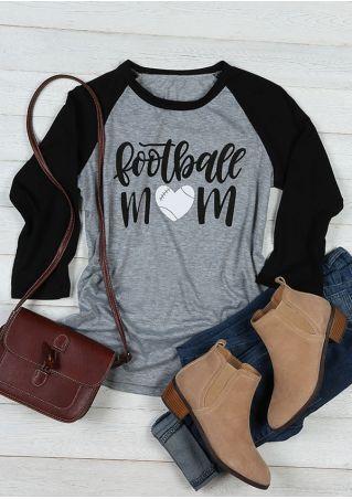 Football Mom Heart Printed Baseball T-Shirt