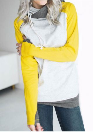 Color Block Drawstring Zipper Pocket Hoodie