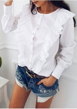 Solid Ruffled Button Shirt