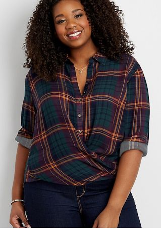 Plus Size Plaid Turn-Down Collar Shirt without Necklace