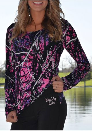 Branch Printed O-Neck Long Sleeve Blouse