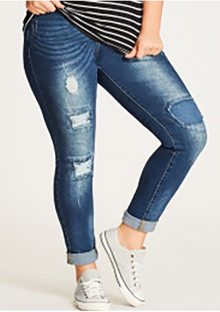 Plus Size Ripped Hollow Out Denim Pants