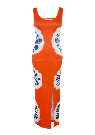 Printed Ruched Slit Maxi Dress