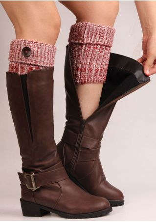 Solid Knitted Button Boot Cuffs