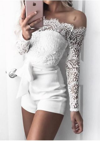Solid Lace Splicing Off Shoulder Romper with Belt