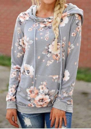 Floral Drawstring Long Sleeve Hoodie