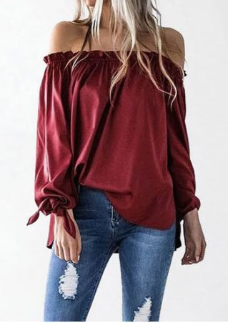 Solid Frill Off Shoulder Blouse