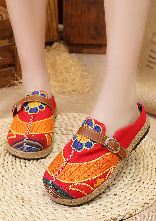Image of Floral Buckle Strap Round Toe Flats