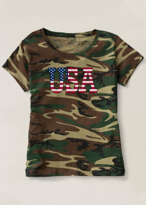 Usa camouflage printed t shirt fairyseason for T shirt printing usa