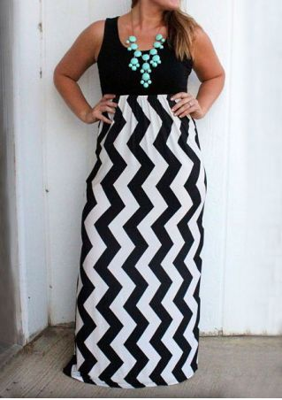 Plus Size Zigzag Splicing Maxi Dress without Necklace
