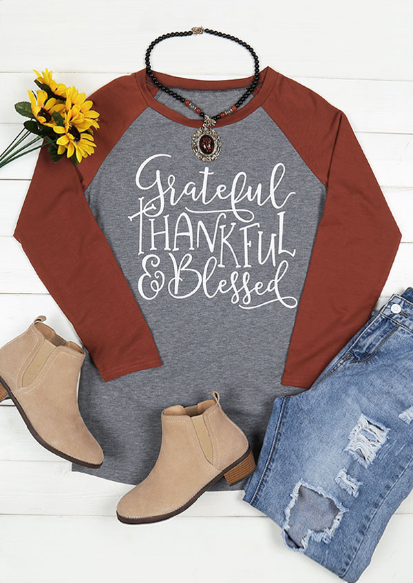 Grateful Thankful & Blessed Baseball T-Shirt