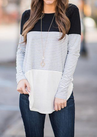 Striped Splicing Asymmetric O-Neck Blouse without Necklace