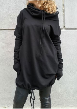 Solid Drawstring Long Sleeve Hoodie