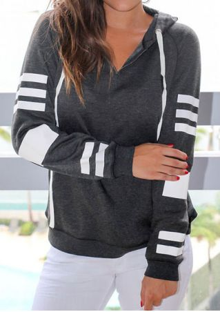 Striped Drawstring Long Sleeve Hoodie
