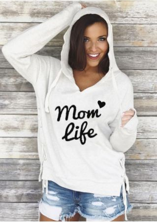 Mom Life Lace Up Hoodie