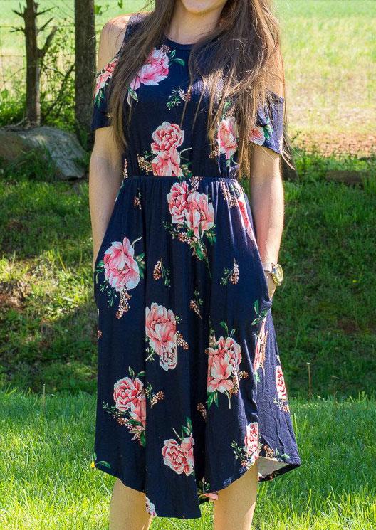 Floral Pocket Cold Shoulder Dress 31179