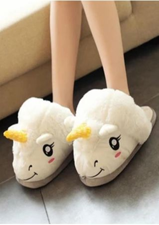 Unicorn Warm Flat Slippers