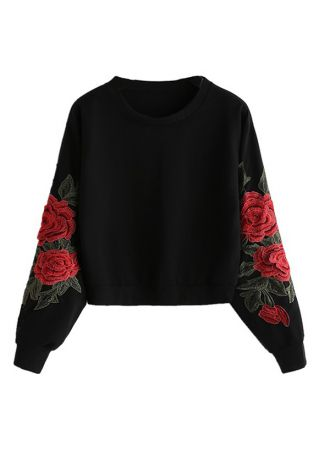 Applique O-Neck Long Sleeve Sweatshirt