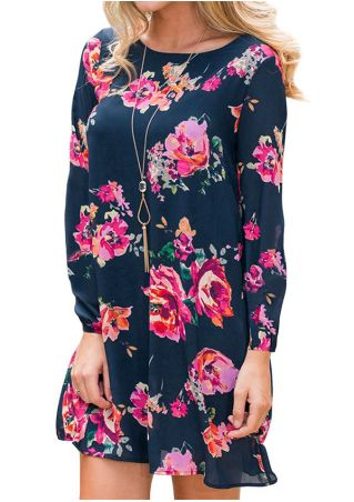 Floral Chiffon O-Neck Mini Dress without Necklace