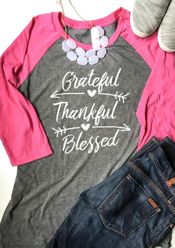 Grateful Thankful Blessed Baseball T Shirt Fairyseason