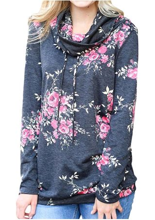 Floral Drawstring Long Sleeve Blouse