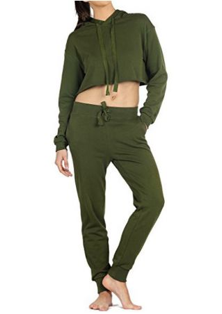 Solid Drawstring Hooded Crop Top and Pants Set Solid