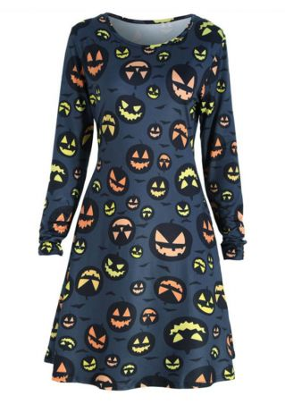 Halloween Pumpkin O-Neck Mini Dress