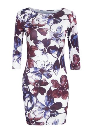 Plus Size Floral Three Quarter Sleeve Bodycon Dress