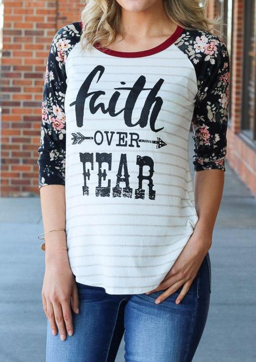 Floral Splicing Faith Over Fear Baseball T-Shirt