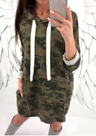 Camouflage Printed Drawstring Hoodie Dress without Necklace