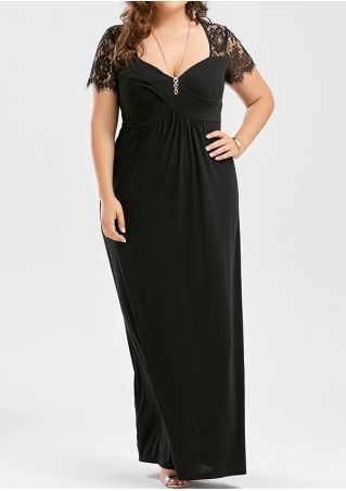 Plus Size Solid Lace Floral Splicing Maxi Dress without Necklace