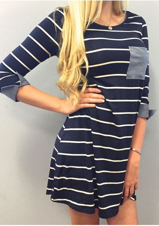 Striped Pocket Mini Dress without Necklace