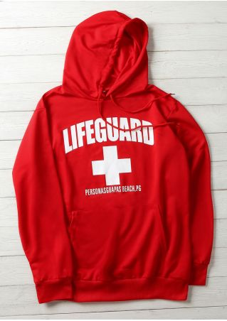 Lifeguard Pocket Drawstring Long Sleeve Hoodie
