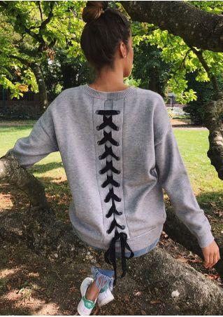 Lace Up Long Sleeve Sweatshirt