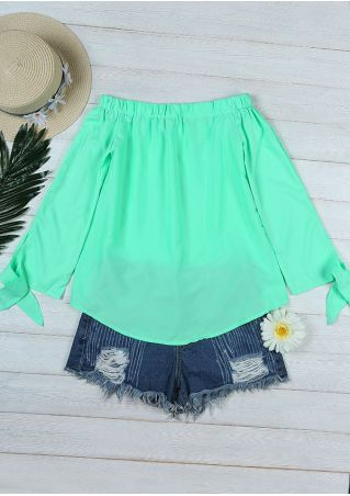 Solid Off Shoulder Tie Blouse