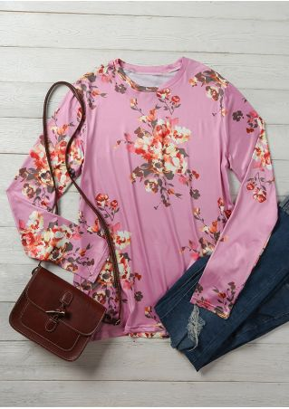 Floral O-Neck Long Sleeve Blouse