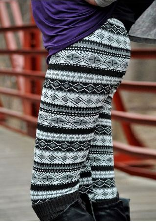 Geometric Printed Elastic Waist Leggings