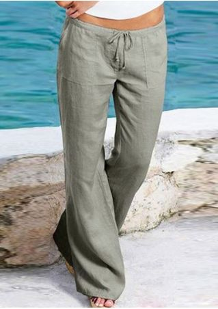 Solid Drawstring Pocket Bootcut Pants