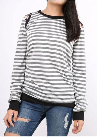 Striped Floral Elbow Patch Splicing T-Shirt