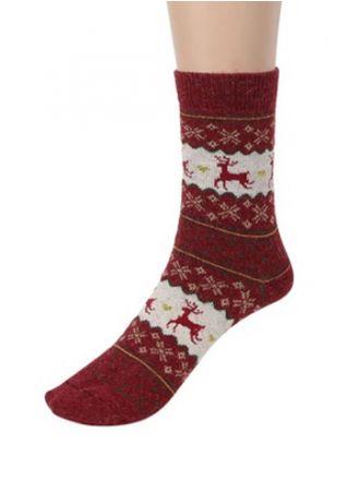 Christmas Reindeer Snowflake Soft Socks