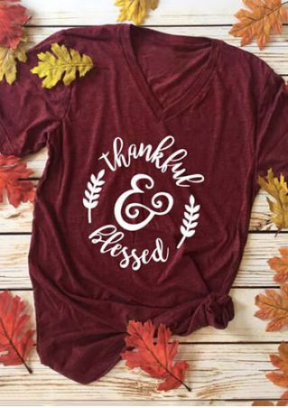 Thankful & Blessed V-Neck T-Shirt