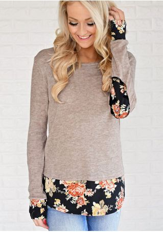 Floral Elbow Patch Splicing T-Shirt