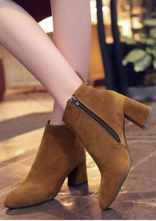 Solid Zipper Pointed Toe Boots