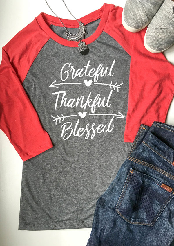 Grateful Thankful Blessed Baseball T Shirt Fairyseason
