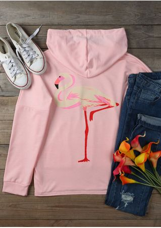 Flamingo Pocket Drawstring Long Sleeve Hoodie